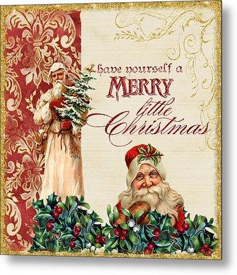 Vintage Santa Claus - Glittering Christmas Metal Print by Audrey Jeanne Roberts