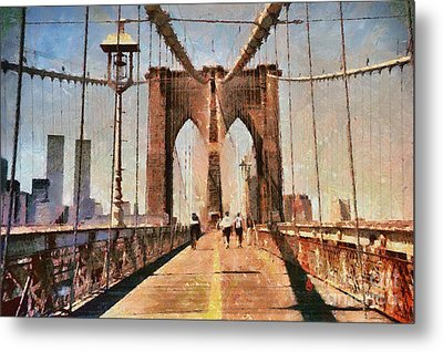 Vintage Shot Of Brooklyn Bridge With Twin Towers Metal Print by Nishanth Gopinathan