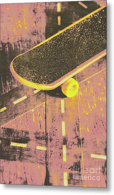 Vintage Skateboard Ruling The Road Metal Print