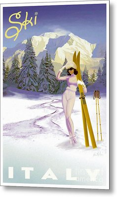 Vintage Skiing Glamour Metal Print by Mindy Sommers