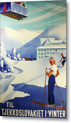 Vintage Skiing Poster Metal Print by Tina Lavoie