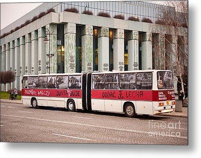 Vintage Solidarnosc Bus On Street Metal Print