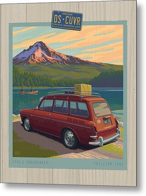 Vintage Squareback At Trillium Lake Metal Print by Mitch Frey
