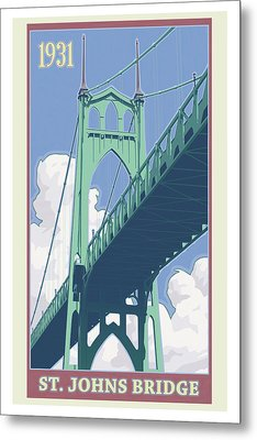 Vintage St. Johns Bridge Travel Poster Metal Print by Mitch Frey