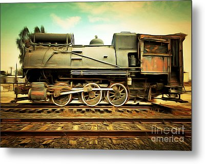 Vintage Steam Locomotive 5d28362brun Metal Print by Home Decor