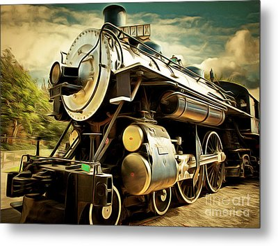 Vintage Steam Locomotive 5d29110brun Metal Print by Home Decor