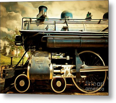 Vintage Steam Locomotive 5d29112brun Metal Print by Home Decor