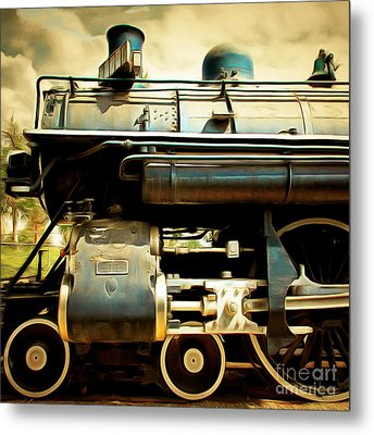 Vintage Steam Locomotive 5d29112brun Sq Metal Print by Home Decor