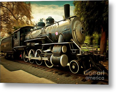 Vintage Steam Locomotive 5d29122brun Metal Print by Home Decor
