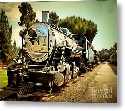 Vintage Steam Locomotive 5d29135brun Metal Print by Home Decor