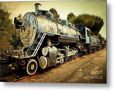 Vintage Steam Locomotive 5d29142brun Metal Print by Home Decor