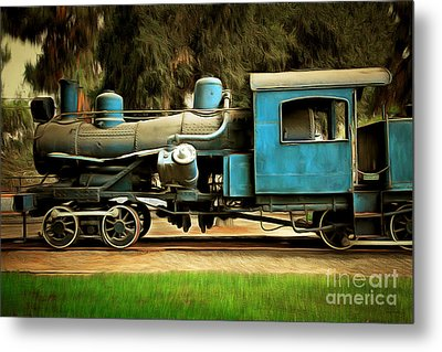 Vintage Steam Locomotive 5d29167brun Metal Print by Home Decor