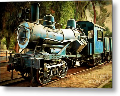 Vintage Steam Locomotive 5d29168brun Metal Print by Home Decor