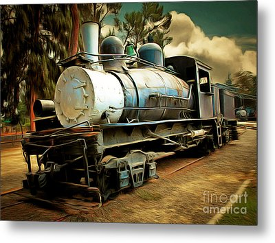 Vintage Steam Locomotive 5d29172brun Metal Print by Home Decor