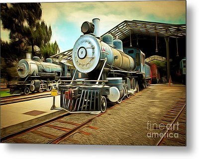 Vintage Steam Locomotive 5d29179brun Metal Print by Home Decor