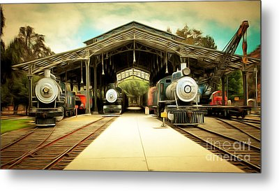 Vintage Steam Locomotive 5d29186brun Metal Print by Home Decor