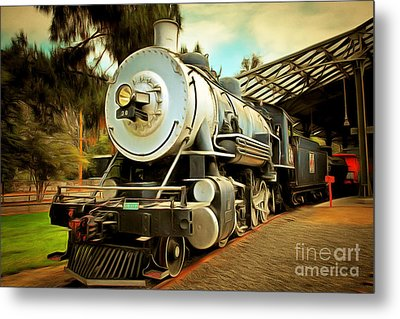 Vintage Steam Locomotive 5d29200brun Metal Print by Home Decor