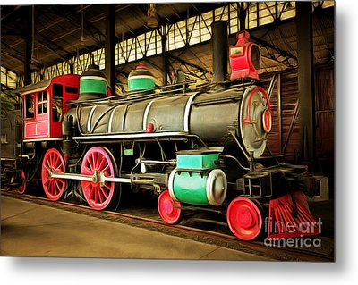 Vintage Steam Locomotive 5d29244brun Metal Print by Home Decor