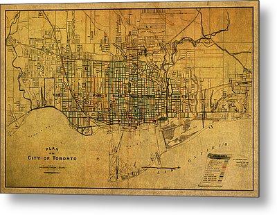 Vintage Street Map Of Toronto Canada Circa 1907 On Worn Distressed Parchment Metal Print