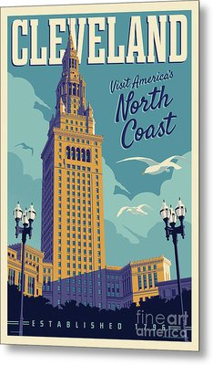 Vintage Style Cleveland Travel Poster Metal Print by Jim Zahniser