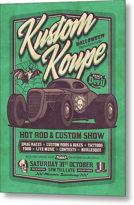 Vintage Style Fictional Halloween Hot Rod Show - Green Metal Print