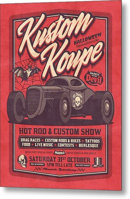Vintage Style Fictional Halloween Hot Rod Show - Red Metal Print