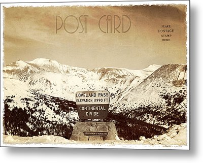 Vintage Style Post Card From Loveland Pass Metal Print