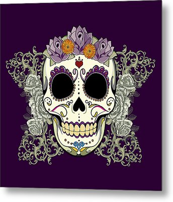 Vintage Sugar Skull And Flowers Metal Print