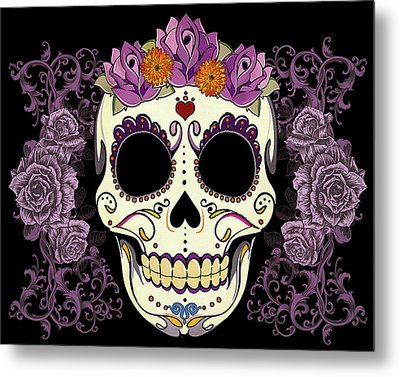 Vintage Sugar Skull And Roses Metal Print
