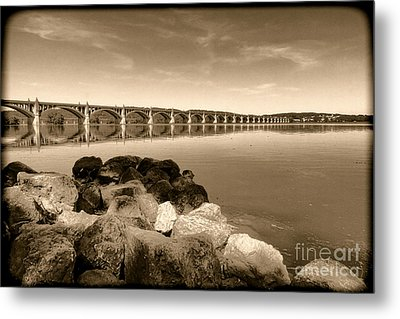 Vintage Susquehanna River Bridge Metal Print by Olivier Le Queinec