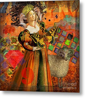 Vintage Taurus Gothic Whimsical Collage Woman Fantasy Metal Print by Mary Hubley