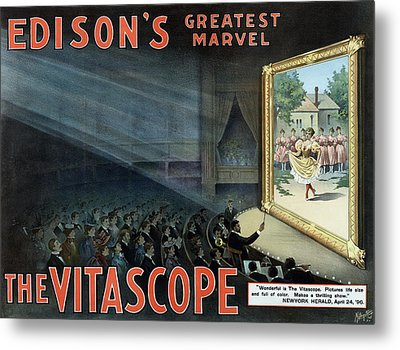 Vintage Thomas Edison Print - The Vitascope Metal Print by War Is Hell Store