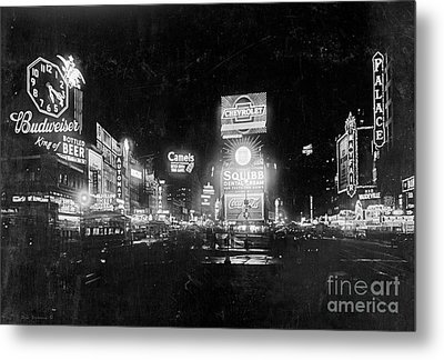 Vintage Times Square At Night Black And White Metal Print by John Stephens