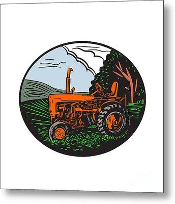 Vintage Tractor Farm Woodcut Metal Print by Aloysius Patrimonio