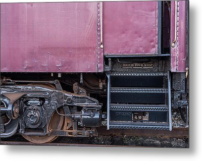 Metal Print featuring the photograph Vintage Train Car Steps by Terry DeLuco