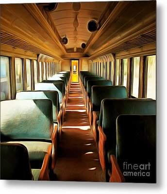 Vintage Train Passenger Car 5d28306brun Square Metal Print by Home Decor