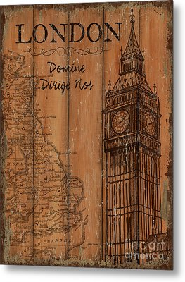 Vintage Travel London Metal Print by Debbie DeWitt