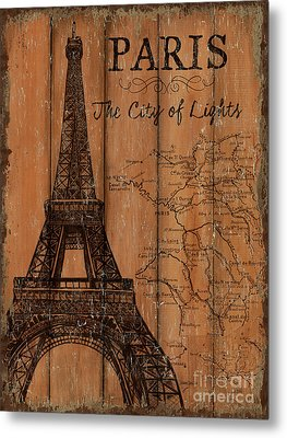 Metal Print featuring the painting Vintage Travel Paris by Debbie DeWitt