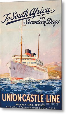 Vintage Travel Poster Advertising A Cruise To South Africa Metal Print by Maurice Randall