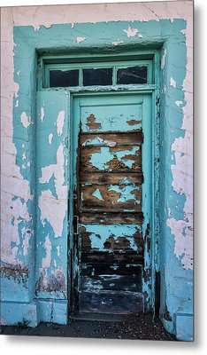Metal Print featuring the photograph Vintage Turquoise Door  by Saija Lehtonen