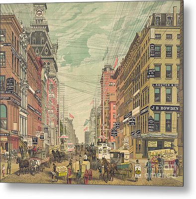Vintage View Of Broadway In New York City, Circa 1880 Metal Print