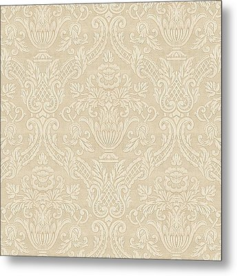 Metal Print featuring the digital art Vintage Wallpaper Beige Floral Elegant Damask by Tracie Kaska