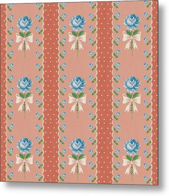 Metal Print featuring the digital art Vintage Wallpaper Blue Roses Coral Polka Dots by Tracie Kaska