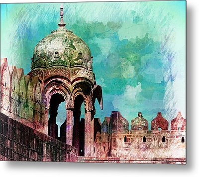 Vintage Watercolor Gazebo Ornate Palace Mehrangarh Fort India Rajasthan 2a Metal Print