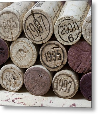 Vintage Wine Corks Square Metal Print by Frank Tschakert
