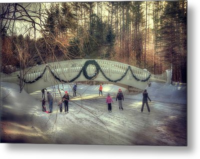 Vintage Winter Ice Skating Scene  Metal Print by Joann Vitali