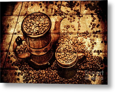 Vintage Wooden Coffee Shop Sign Metal Print by Jorgo Photography - Wall Art Gallery