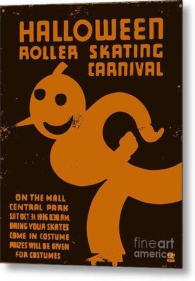 Vintage Wpa Halloween Roller Skating Carnival Poster Metal Print by Edward Fielding