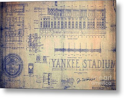 Vintage Yankee Stadium Blueprint Signed By Joe Dimaggio Metal Print
