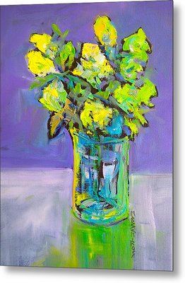 Metal Print featuring the painting Violet And Lime by Mary Schiros